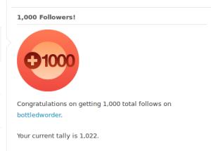 One thousand followers on WordPress