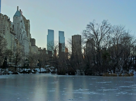New York City beyond the pond at Central Park