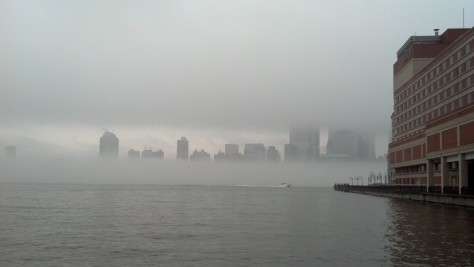 The fog on a different day seen from across the Hudson.