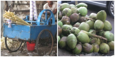 Sugarcane Juice and Daab (green coconuts) to quench the thirst of Pujo viewers