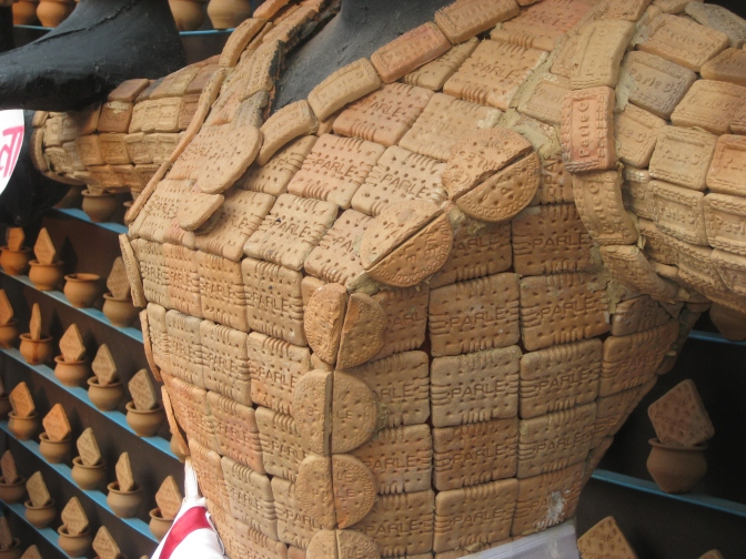 Entire pandal made of biscuits, Bosepukur Sitala Mandir