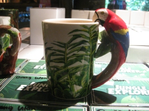 A coffee mug at the gift shop at the Singapore Zoo but that could be me.